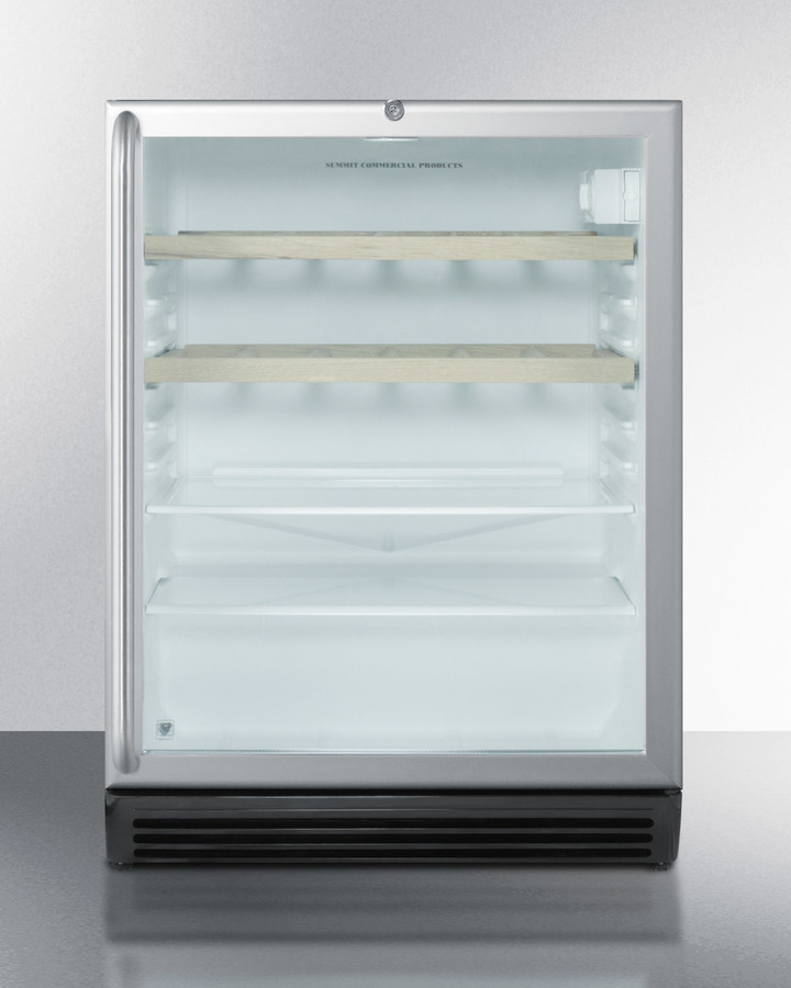 ADA compliant built-in beverage center for commercial use, with black cabinet, glass door, full-length SS handle, glass and wooden shelves, and lock