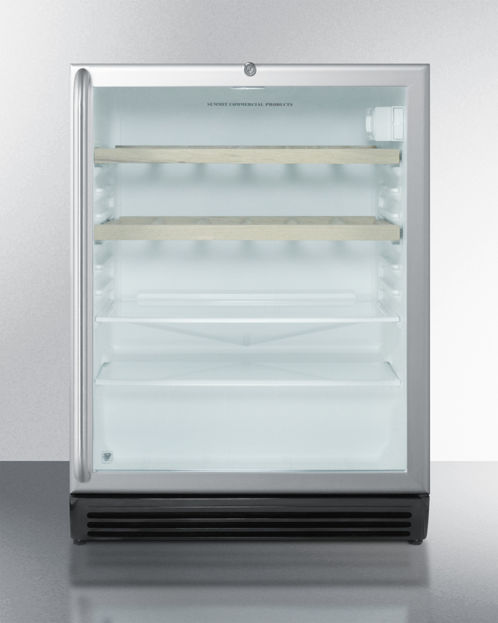 Commercially listed built-in refreshment center with stainless steel wrapped cabinet, glass door, full-length handle, wooden and glass shelves, and lock
