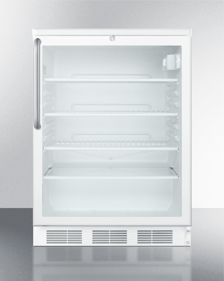 Commercially listed built-in undercounter glass door all-refrigerator with white cabinet, stainless steel towel bar handle, and front lock
