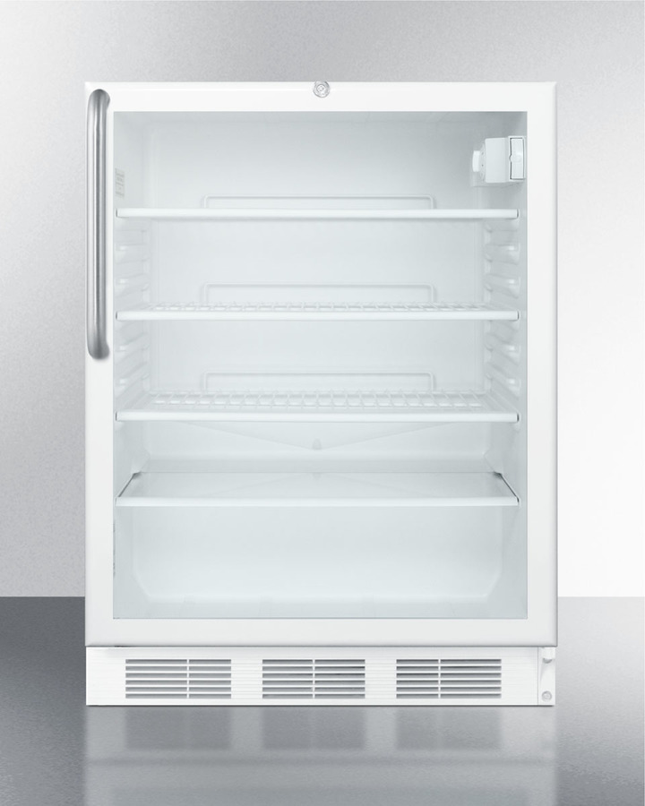 ADA compliant commercially listed built-in undercounter glass door all-refrigerator with white cabinet, towel bar handle, and front lock