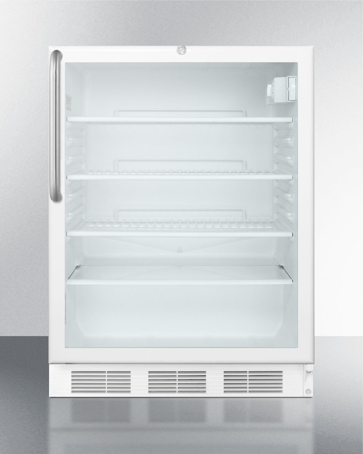 Commercially listed built-in undercounter glass door all-refrigerator with stainless steel cabinet, towel bar handle, and front lock