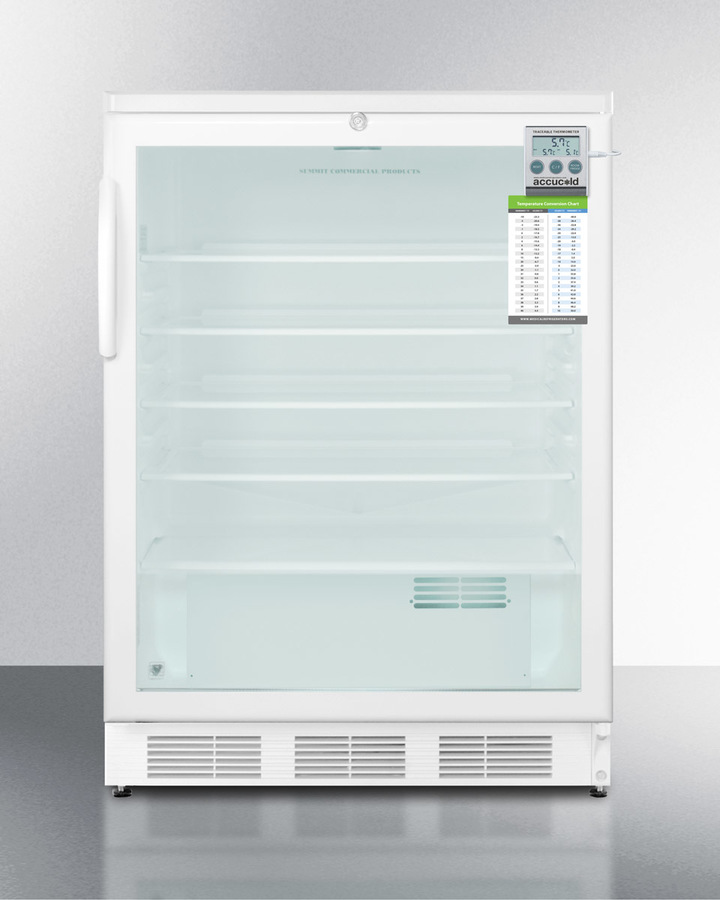 ADA compliant 24' wide glass door refrigerator for freestanding use, auto defrost with a lock, traceable thermometer, and internal fan