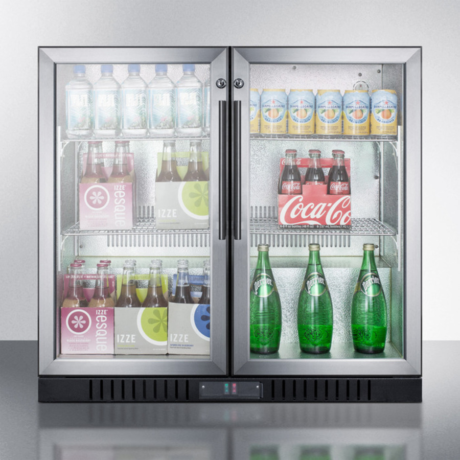 Commercial back bar beverage center for freestanding use, with self-closing French doors and stainless steel wrapped cabinet