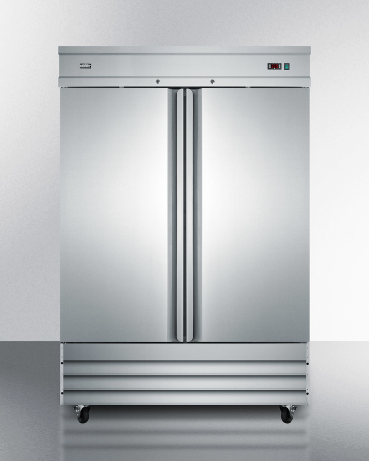 Summit Commercially approved 46.6 cu.ft. reach-in two-door refrigerator in complete stainless steel; replaces SCRR490