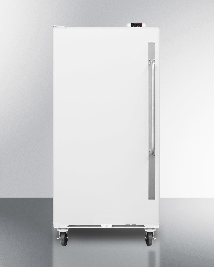 Commercially approved frost-free all-refrigerator with digital thermostat, left hand door swing, and lock