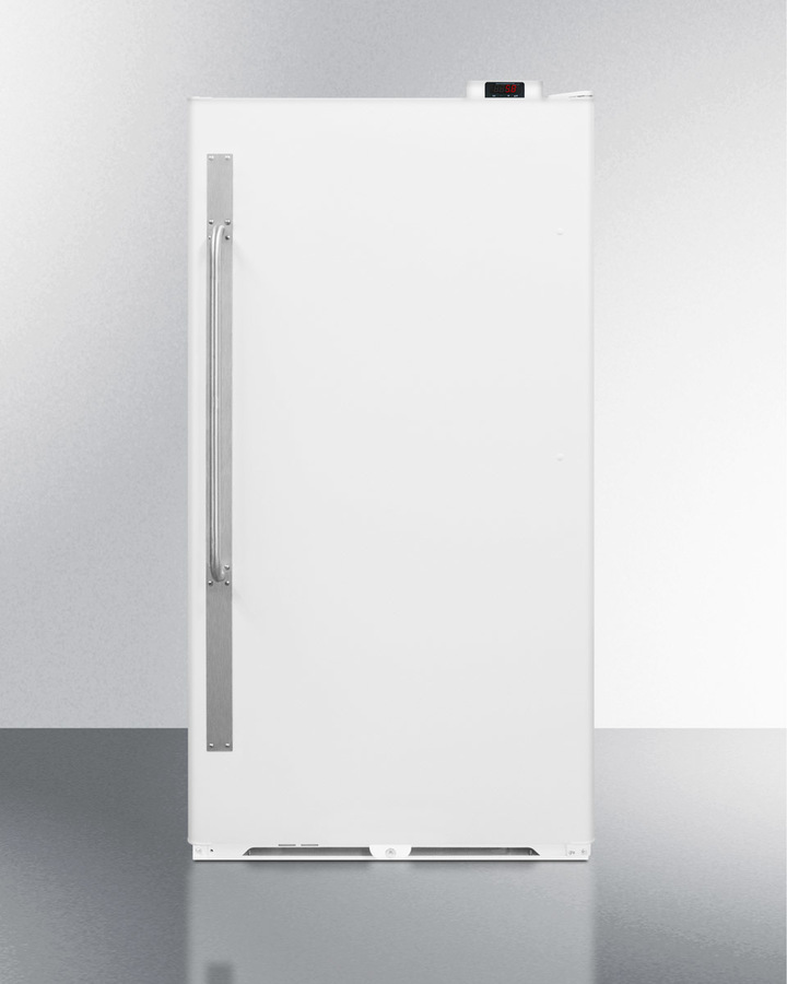 Summit Commercially approved frost-free all-refrigerator with digital thermostat, right hand door swing, and lock