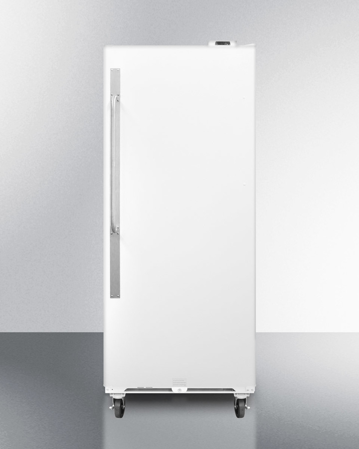Commercially approved frost-free all-refrigerator with digital thermostat, casters, lock, and right hand door swing
