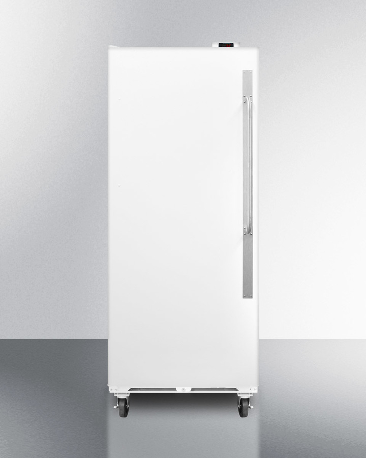 Commercially approved frost-free all-refrigerator with digital thermostat, casters, lock, and left hand door swing