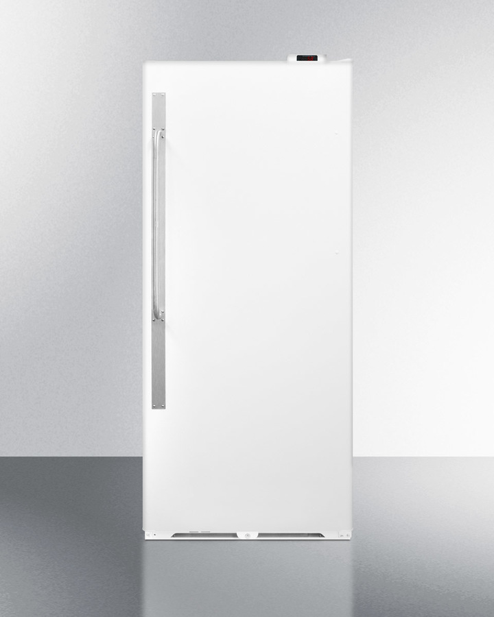 Summit Commercially approved frost-free all-refrigerator with digital thermostat, lock, and right hand door swing