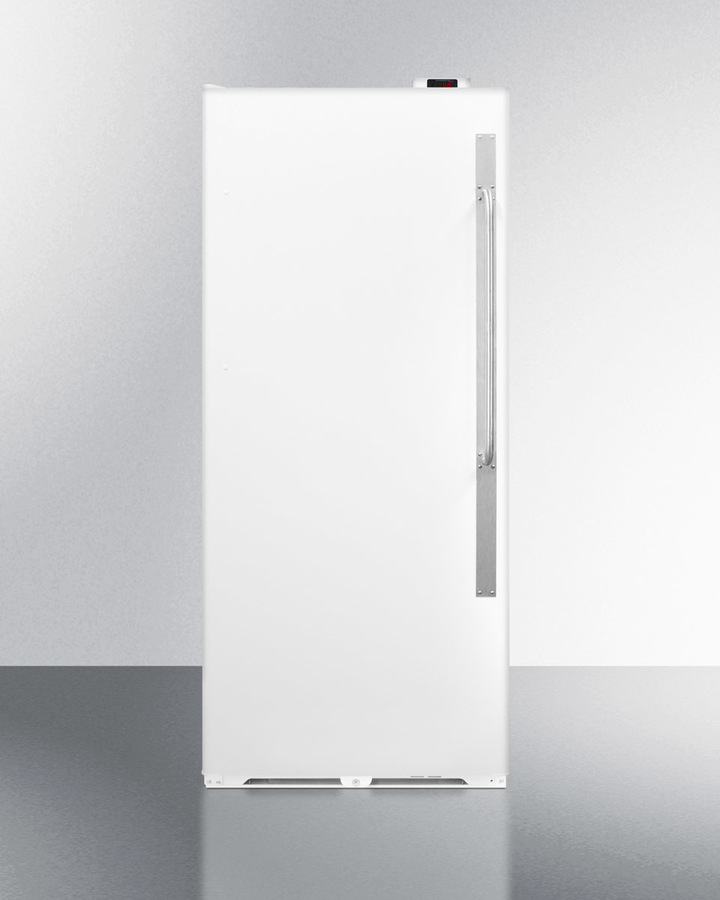 Summit Commercially approved frost-free all-refrigerator with digital thermostat, lock, and left hand door swing