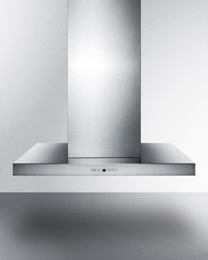 48' wide island range hood in stainless steel, made in Spain with a rectangular canopy design