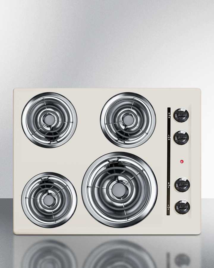 24' wide 220V electric cooktop in bisque porcelain finish