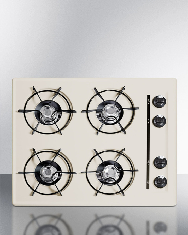 Summit 24' wide cooktop in bisque, with four burners and gas spark ignition; replaces STL033