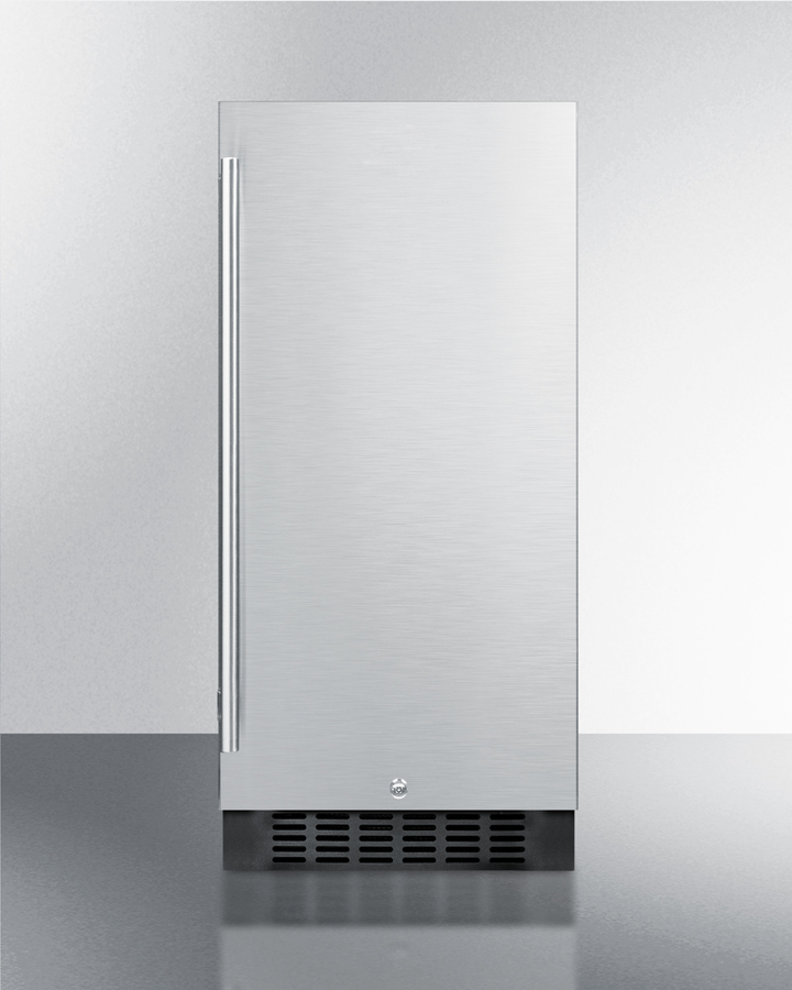 15' wide built-in outdoor residential refrigerator in stainless steel with lock and digital thermostat