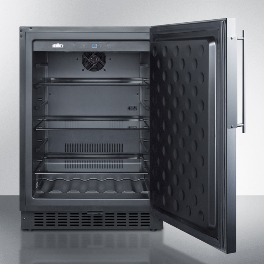 Model: SPR627OSFR | Summit Outdoor all-refrigerator for built-in use, with lock, digital thermostat, and stainless steel door frame for panel inserts