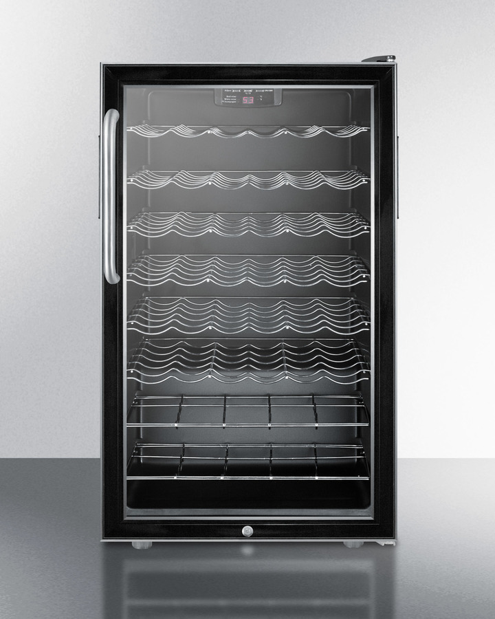 Commercially listed 20' wide wine cellar for built-in use, with stainless steel cabinet, lock, digital thermostat and towel bar handle