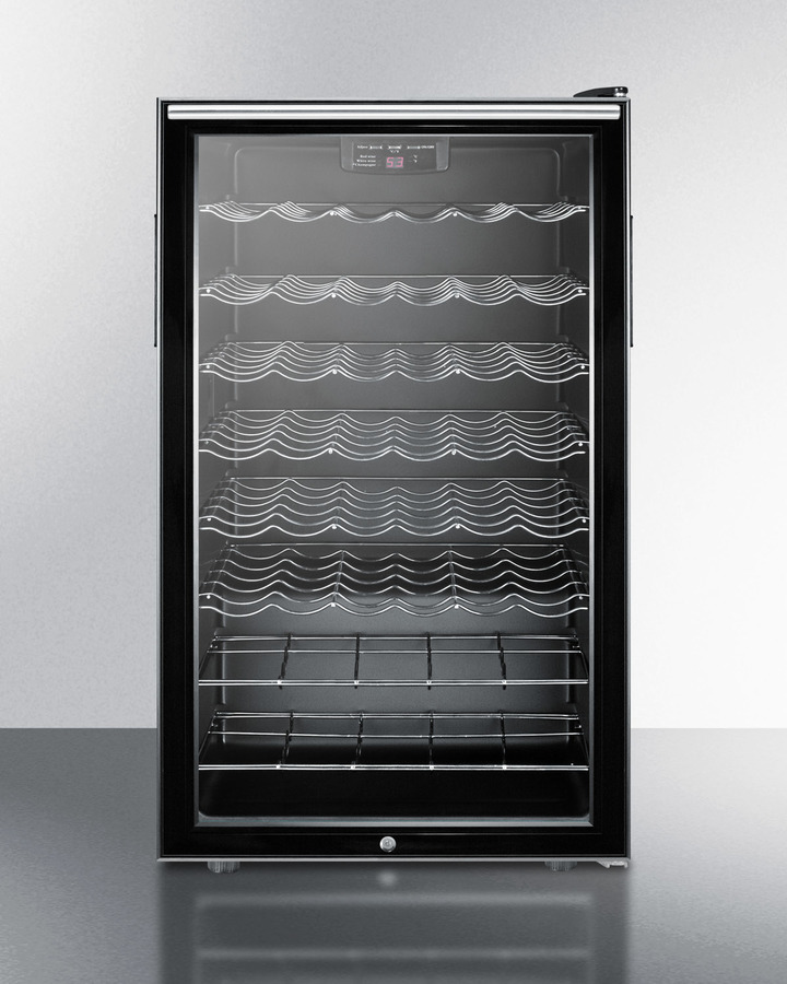Commercially listed ADA compliant 20' wide freestanding wine cellar with lock, digital thermostat and horizontal handle handle