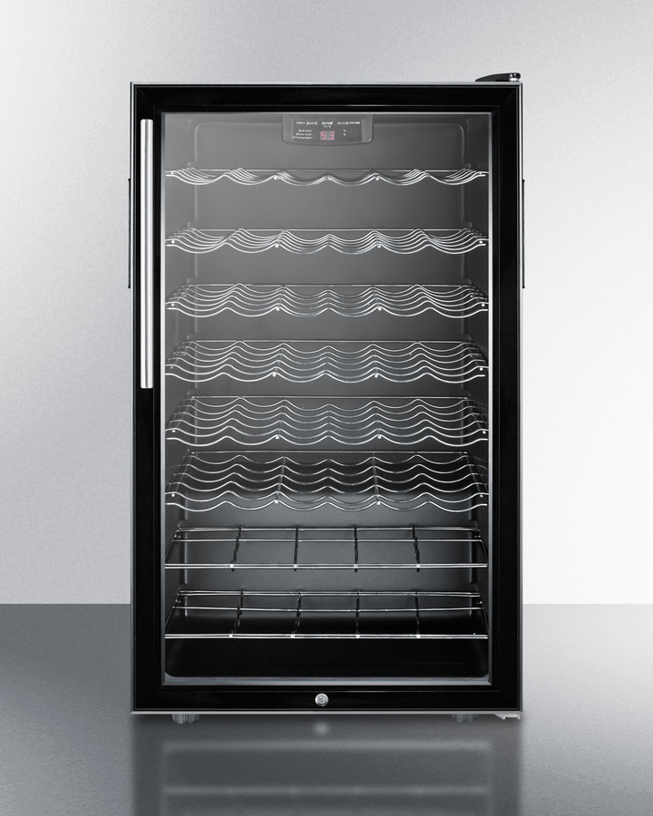 Commercially listed ADA compliant 20' wide wine cellar for built-in use, with lock, digital thermostat, and pro thin handle