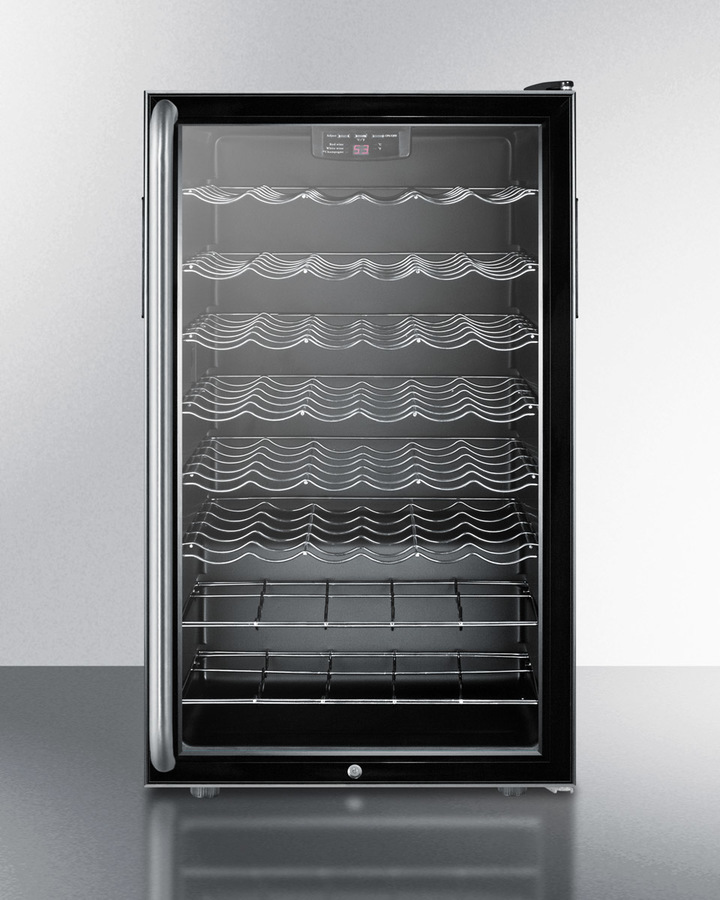 Commercially listed 20' wide wine cellar for built-in use, with lock, digital thermostat and full-length towel bar handle