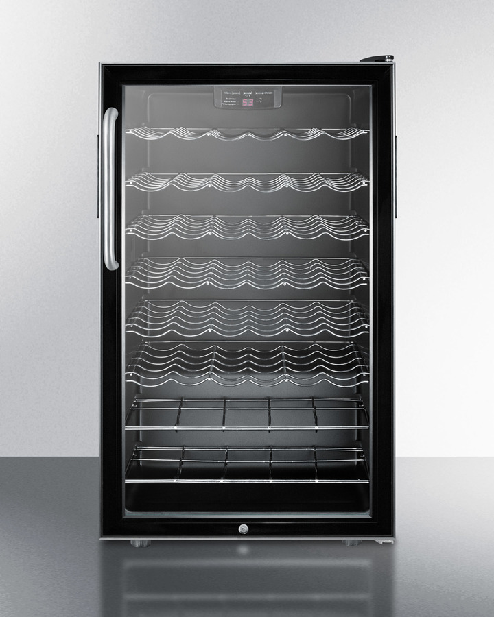 Commercially listed ADA compliant 20' wide wine cellar for built-in use, with lock, digital thermostat, and towel bar handle