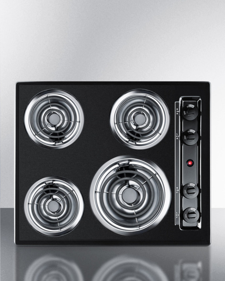 24' wide 220V electric cooktop in black porcelain finish