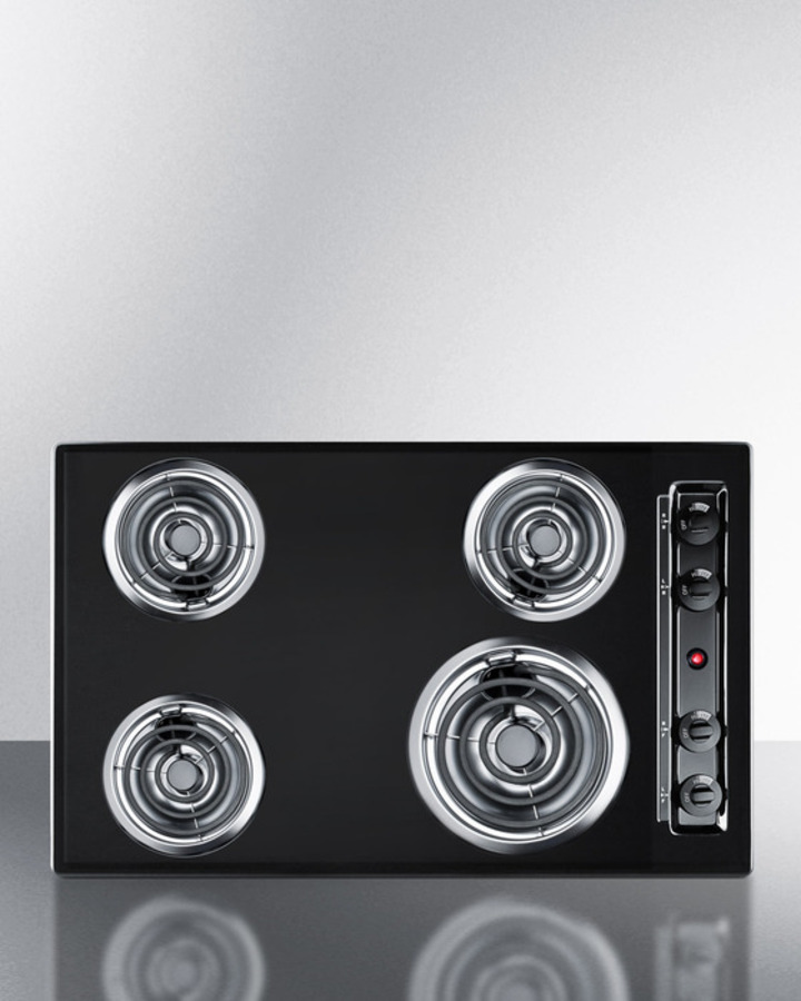 30' wide 220V electric cooktop in black porcelain finish