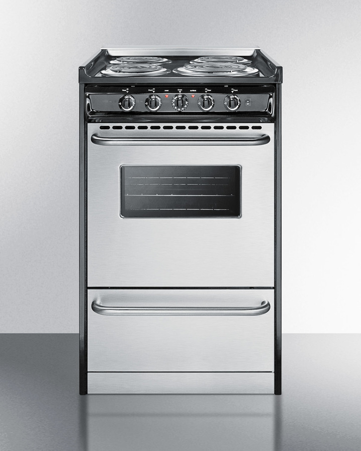 Slide-in electric range in slim 20' width with stainless steel doors and black porcelain top; replaces TEM130R