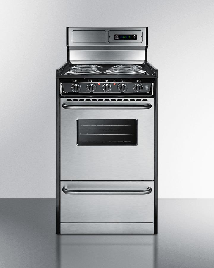 Deluxe 220V electric range in slim 20' width with stainless steel doors