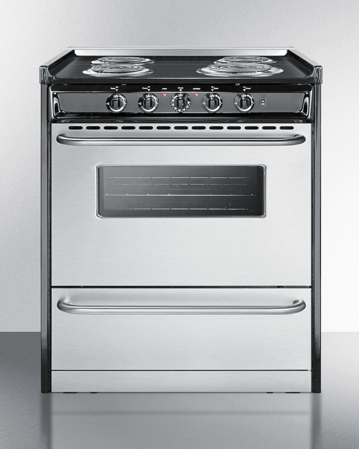 Slide-in electric range in 30' width with stainless steel doors and black porcelain top; replaces TEM230R
