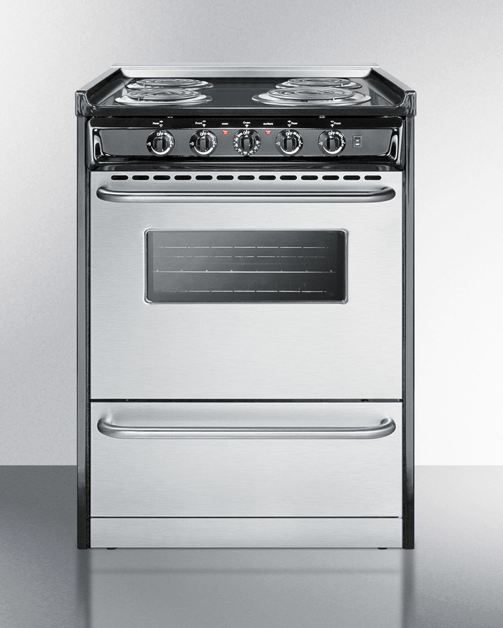 Slide-in electric range in slim 24' width with stainless steel doors and black porcelain top; replaces TEM630R