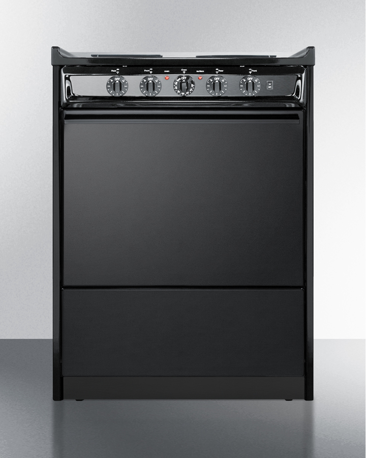 """Summit 24'"""" wide slide-in electric range in black with lower storage compartment"""