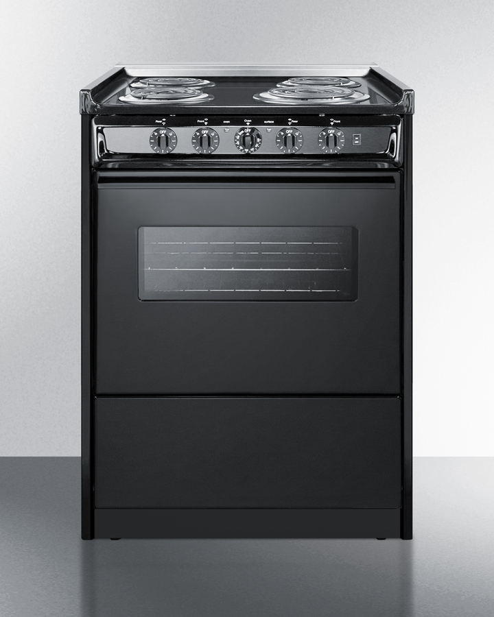 24' wide slide-in electric range in black with oven window, light, and lower storage compartment; replaces TEM619RW
