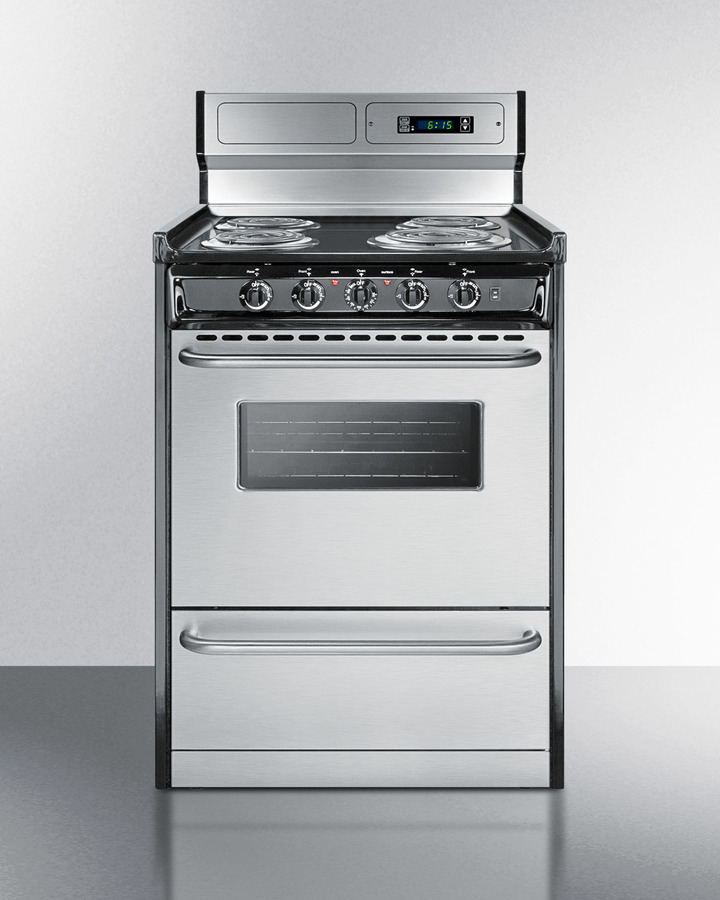 Deluxe 220V electric range in slim 24' width with stainless steel doors