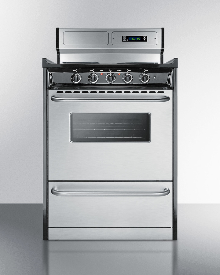 Deluxe 220V electric range in slim 24' width with stainless steel doors