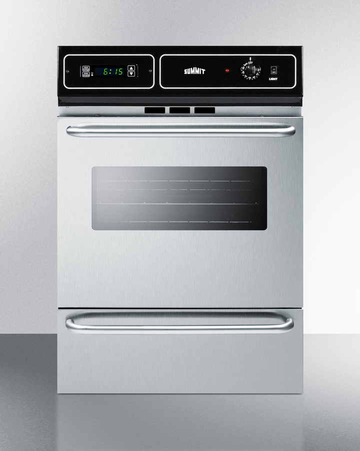 Stainless steel 220V electric wall oven with digital clock/timer and oven window; for cutouts 22 3/8' wide by 34 1/8' high