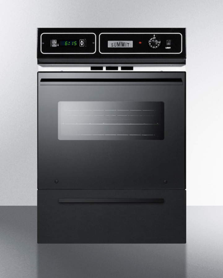 Black glass 220V electric wall oven with digital clock/timer and oven window; for cutouts 22 3/8' wide by 34 1/8' high