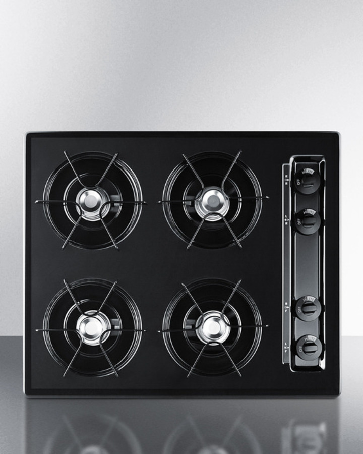 24' wide cooktop in black, with four burners and battery start ignition