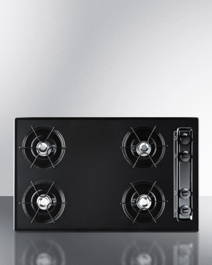 Summit 30' wide cooktop in black, with four burners and gas spark ignition; replaces TTL053