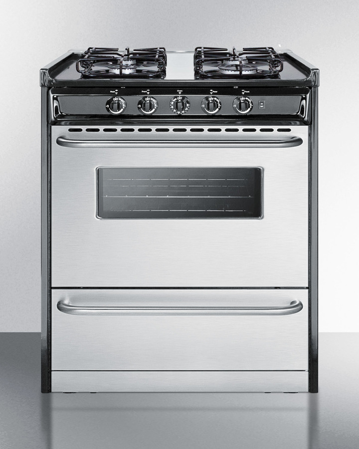30' wide slide-in gas range with stainless steel doors and sealed burners; replaces TNM21027BFRWY