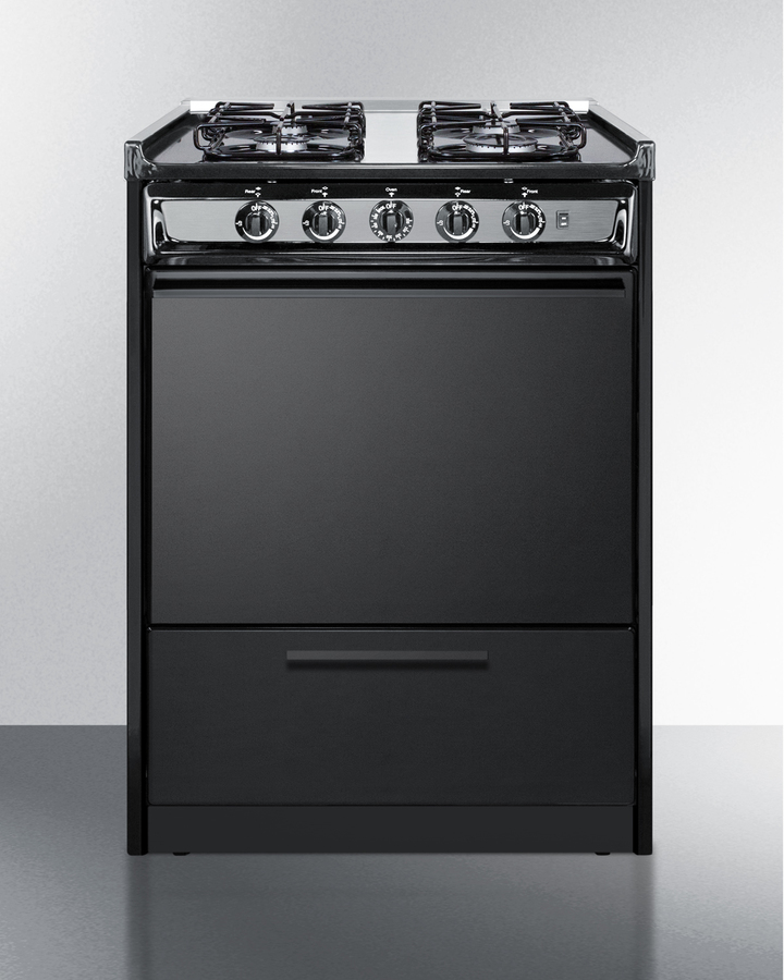 24' wide slide-in gas range in black with sealed burners and electronic ignition; replaces TNM616R