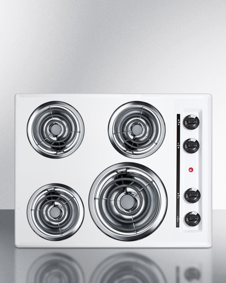 Summit 24' wide 220V electric cooktop in white porcelain finish