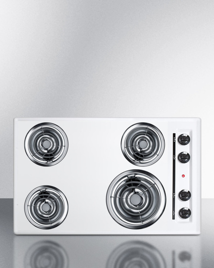 30' wide 220V electric cooktop in white porcelain finish