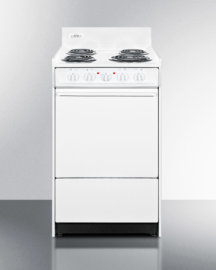 White 220V electric range in slim 20' width with storage compartment
