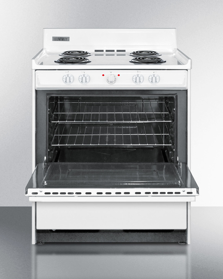 White 220V electric range in 30' width with storage compartment