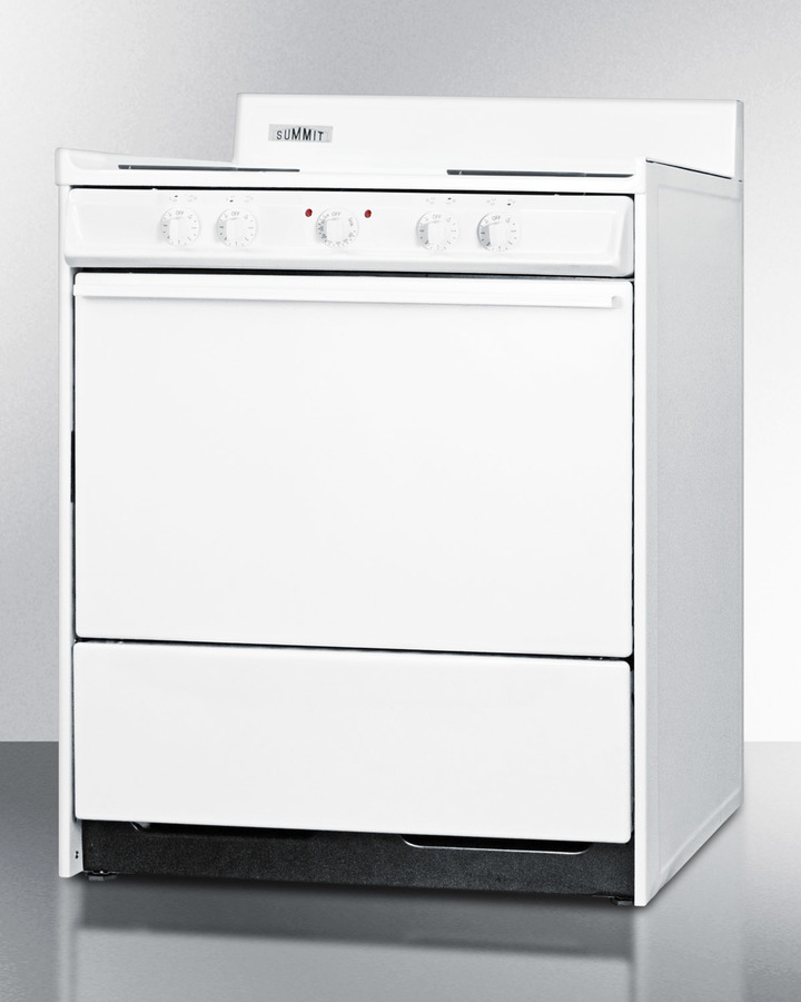 Model: WEM210 | Summit White 220V electric range in 30' width with storage compartment