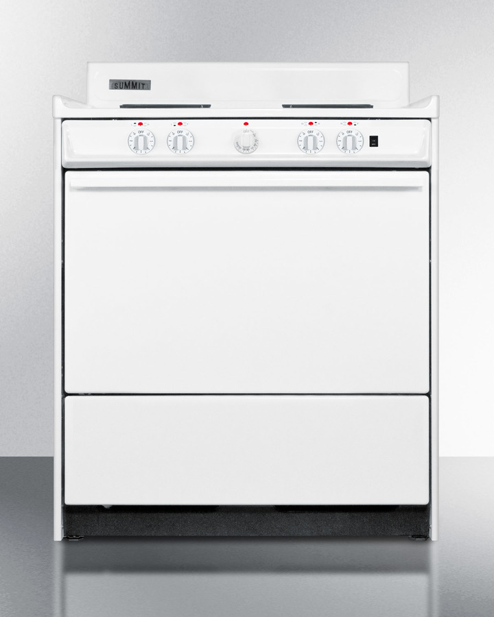 30' wide electric range with indicator lights and a three-prong line cord, for HUD applications.