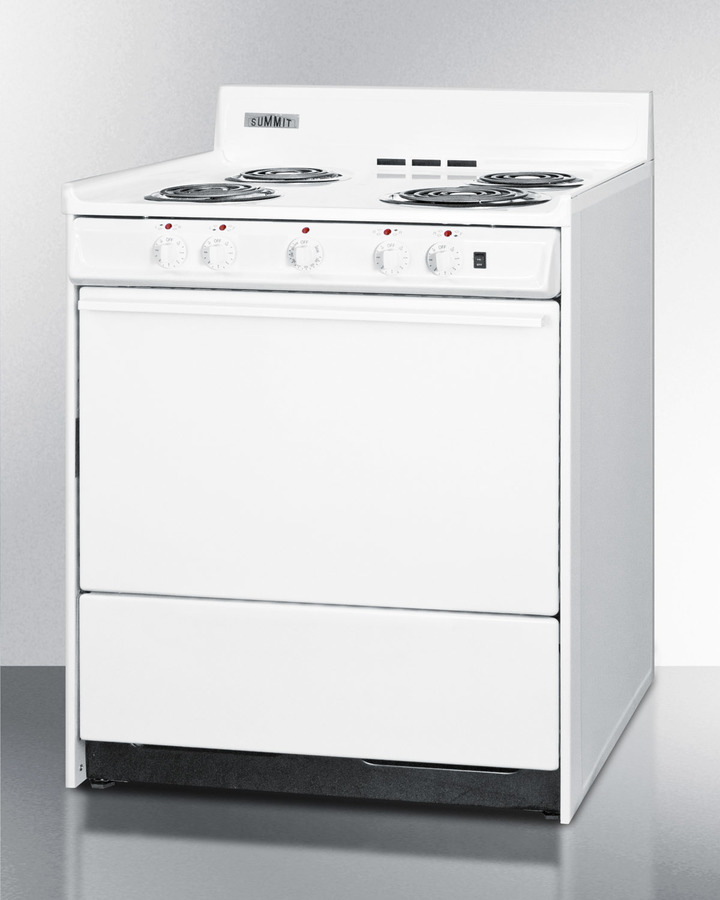Model: WEM2171Q | Summit 30' wide electric range with indicator lights and a three-prong line cord, for HUD applications.