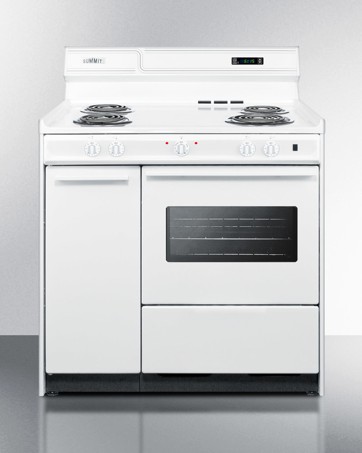 Deluxe 220V white electric range with clock/timer and oven with light in 36' width