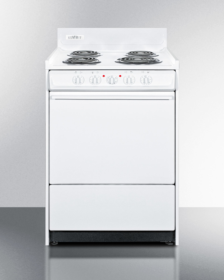 White 220V electric range in slim 24' width with storage compartment