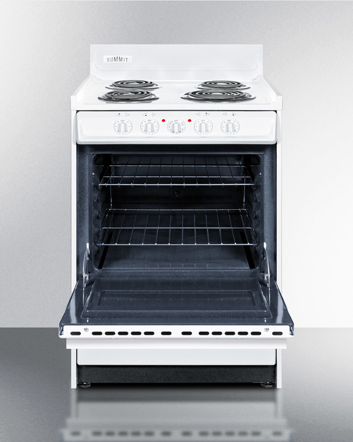White 220V electric range in slim 24